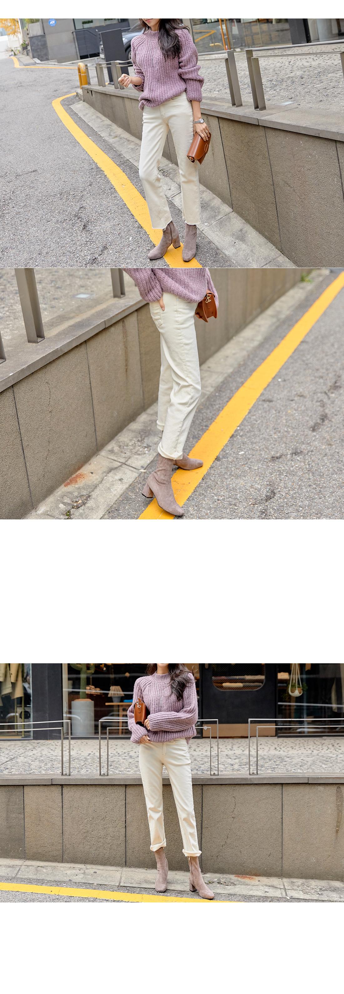 Peach Fleece-lined semi Flared pants #75025