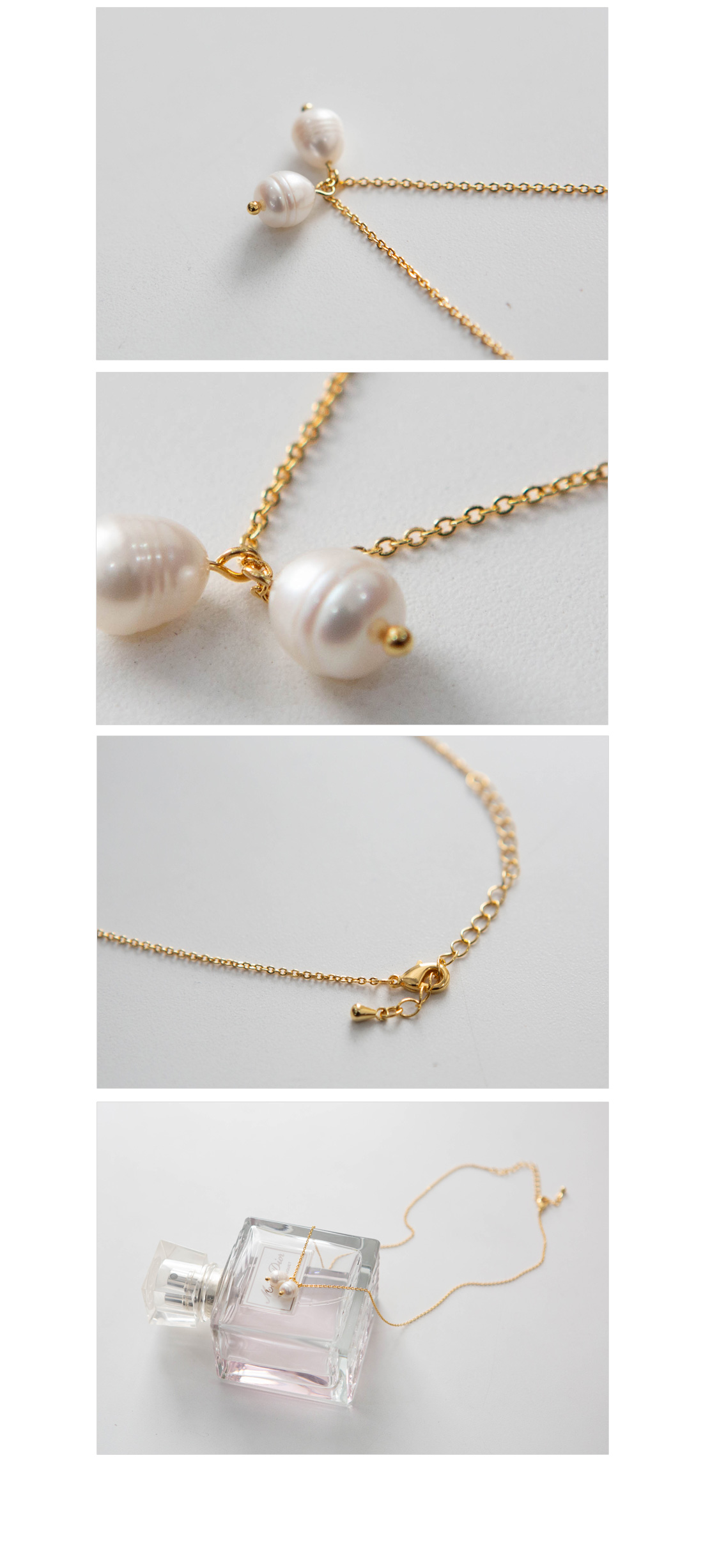 Twin pearl necklace #85893