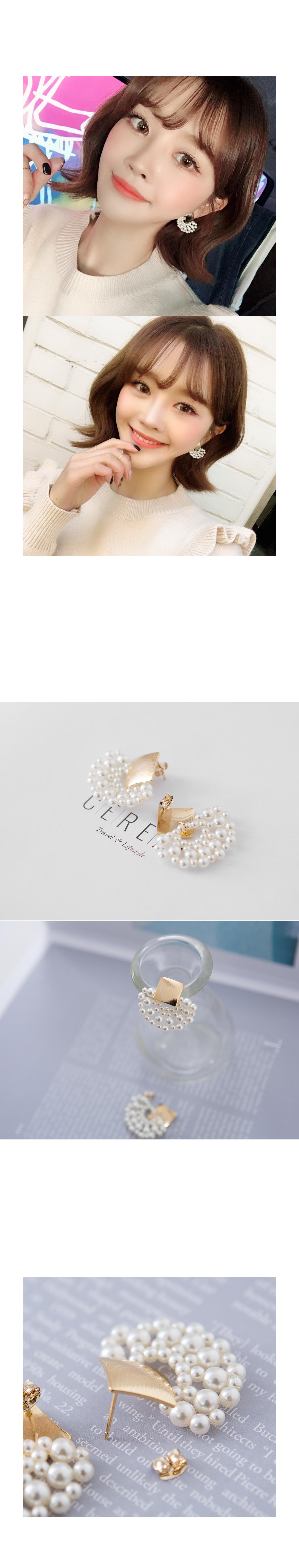Fan-shaped pearl earrings #85017