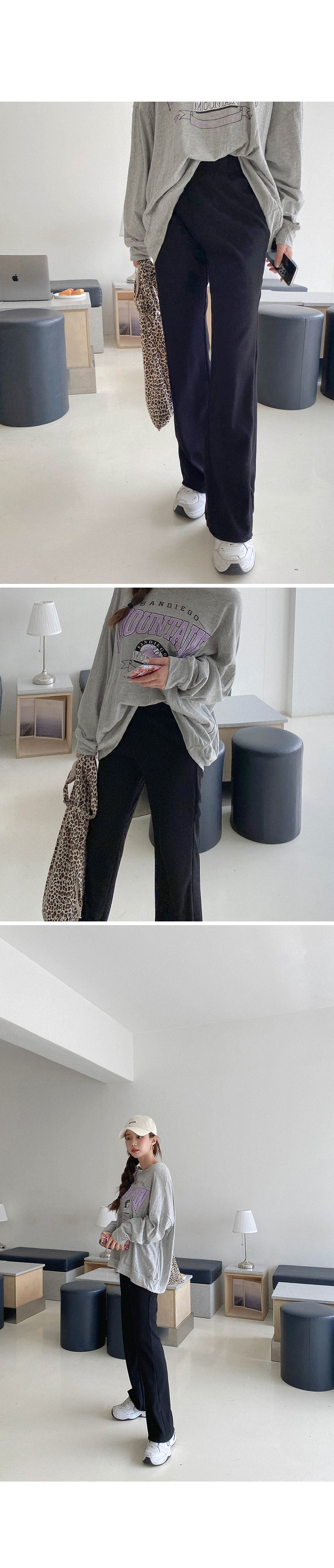 Attractive simple ribbed pants