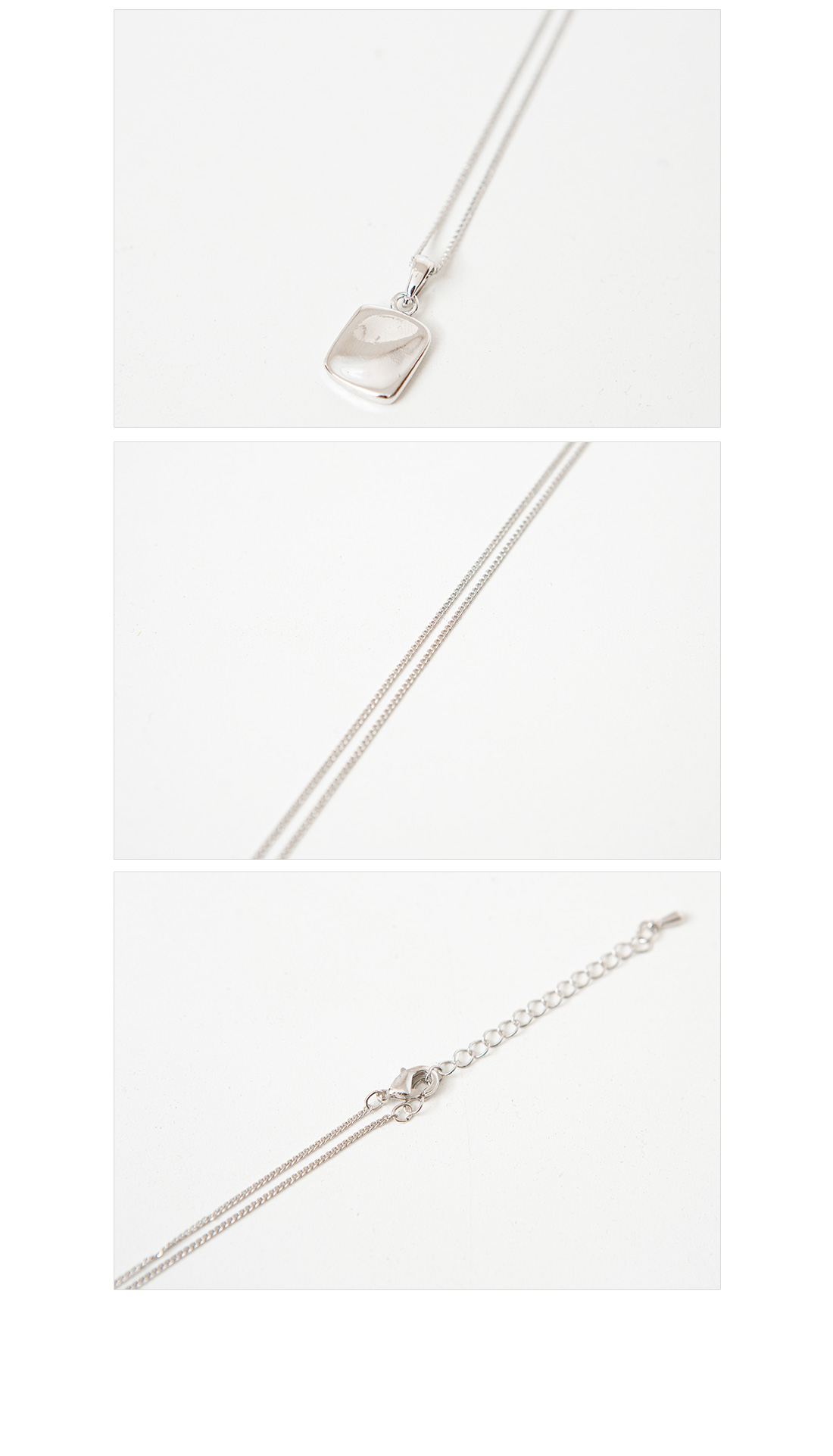 Silver Square Short Necklace #86157