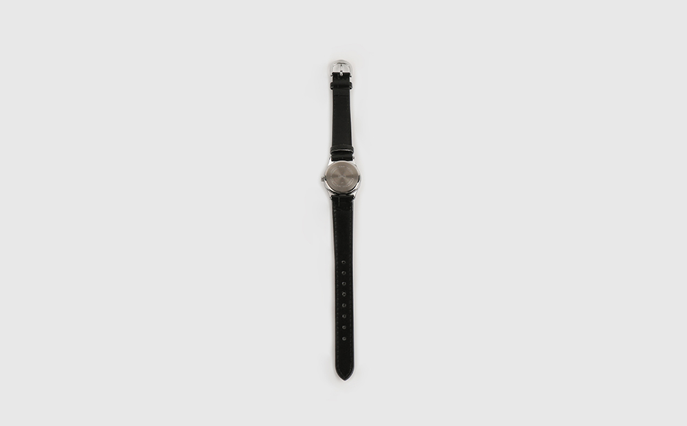 Modern black leather watch