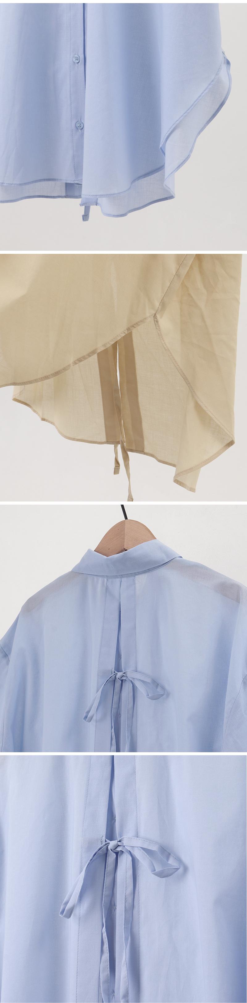 Back ribbon collar short-sleeved shirt
