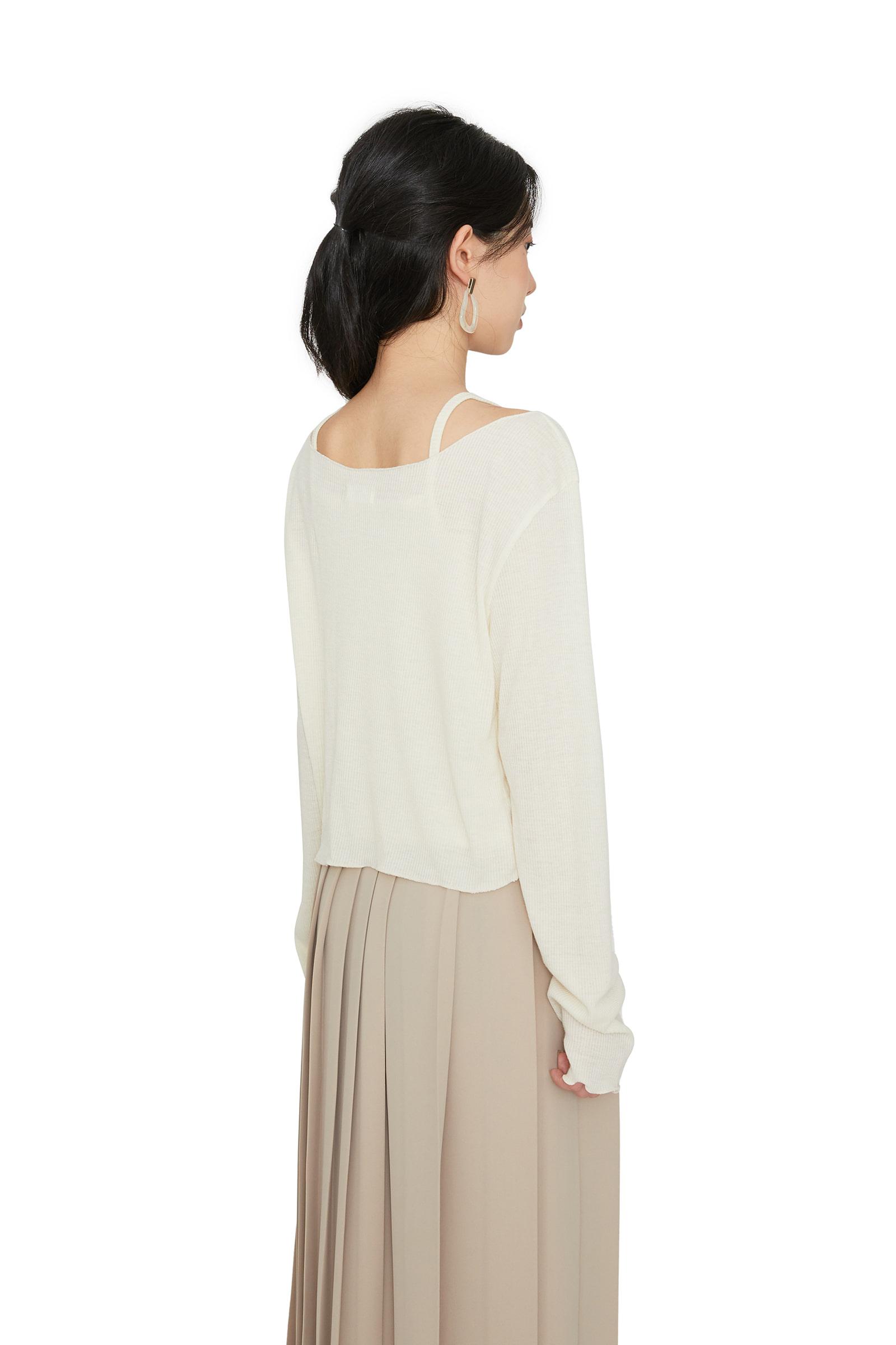 Shy twist sleeveless set top