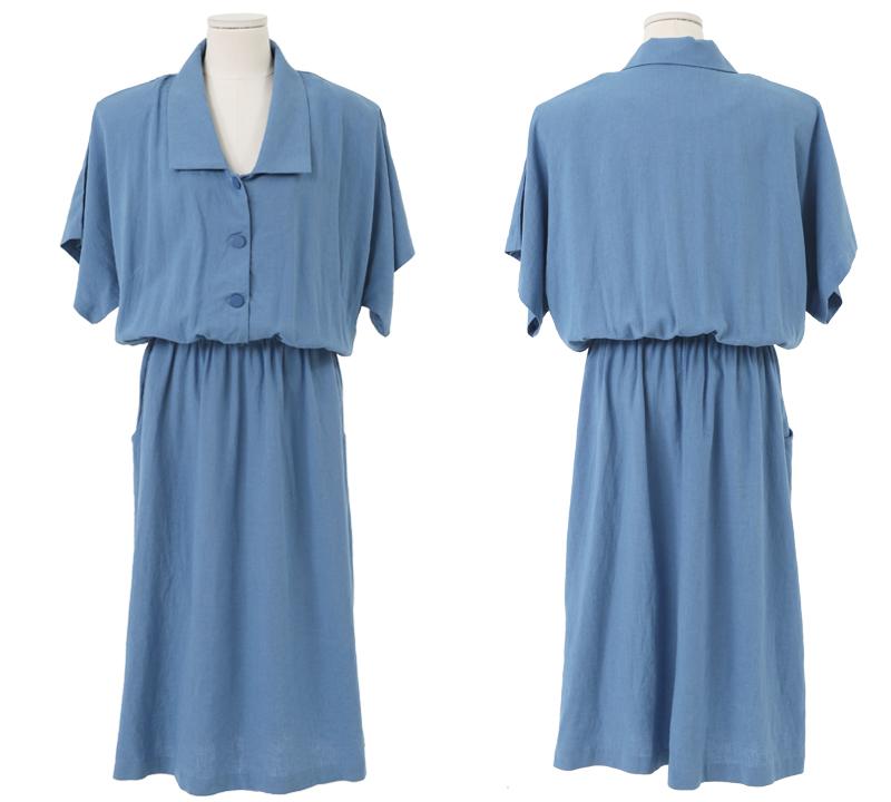 Linen banding color long dress