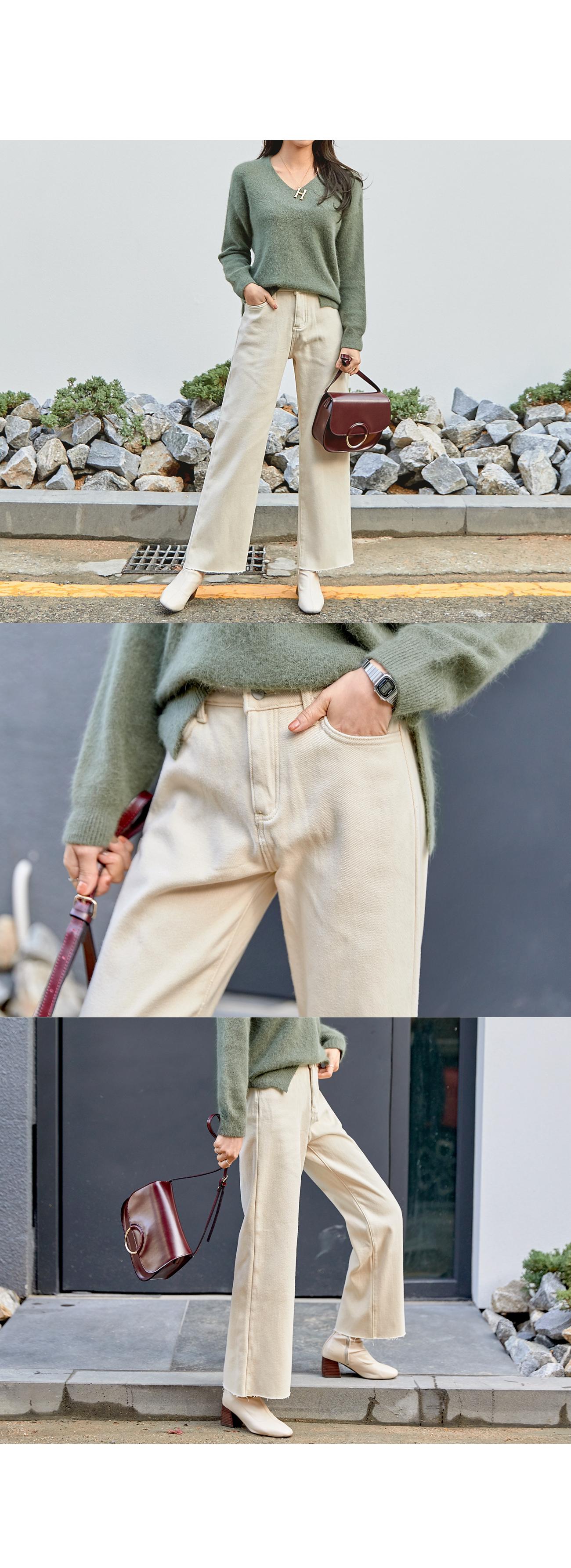 Wide Straight Fit Raised Pants #75067
