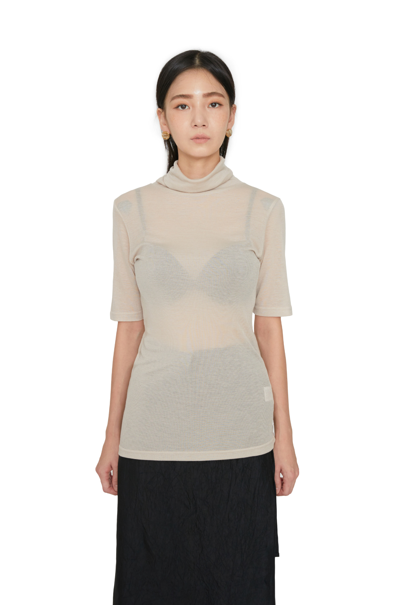 Bonita Tencel turtleneck half T-shirt
