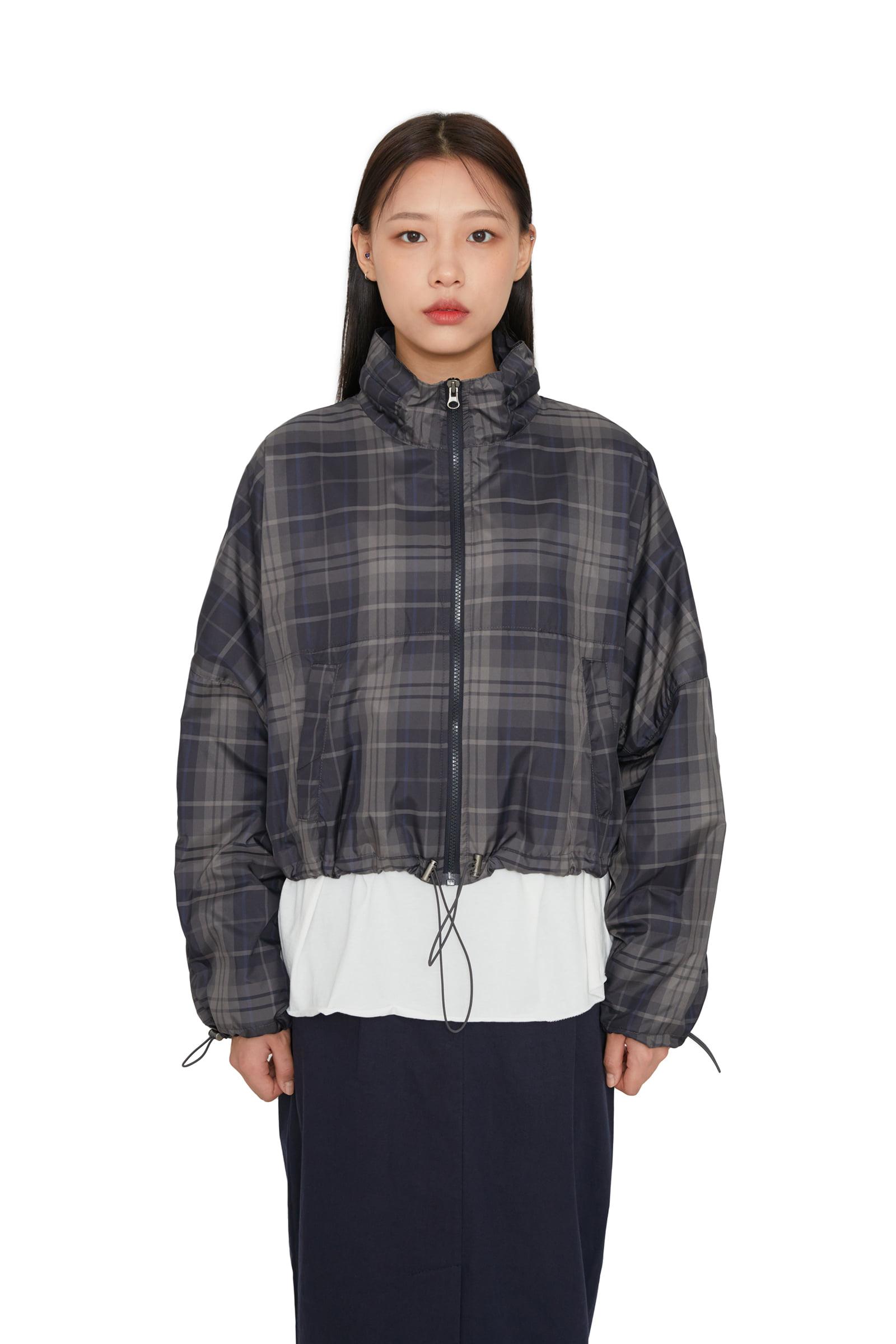 Check string zip-up jumper