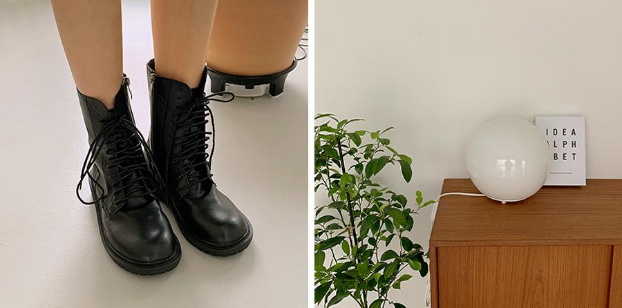 Black lace-up walker boots