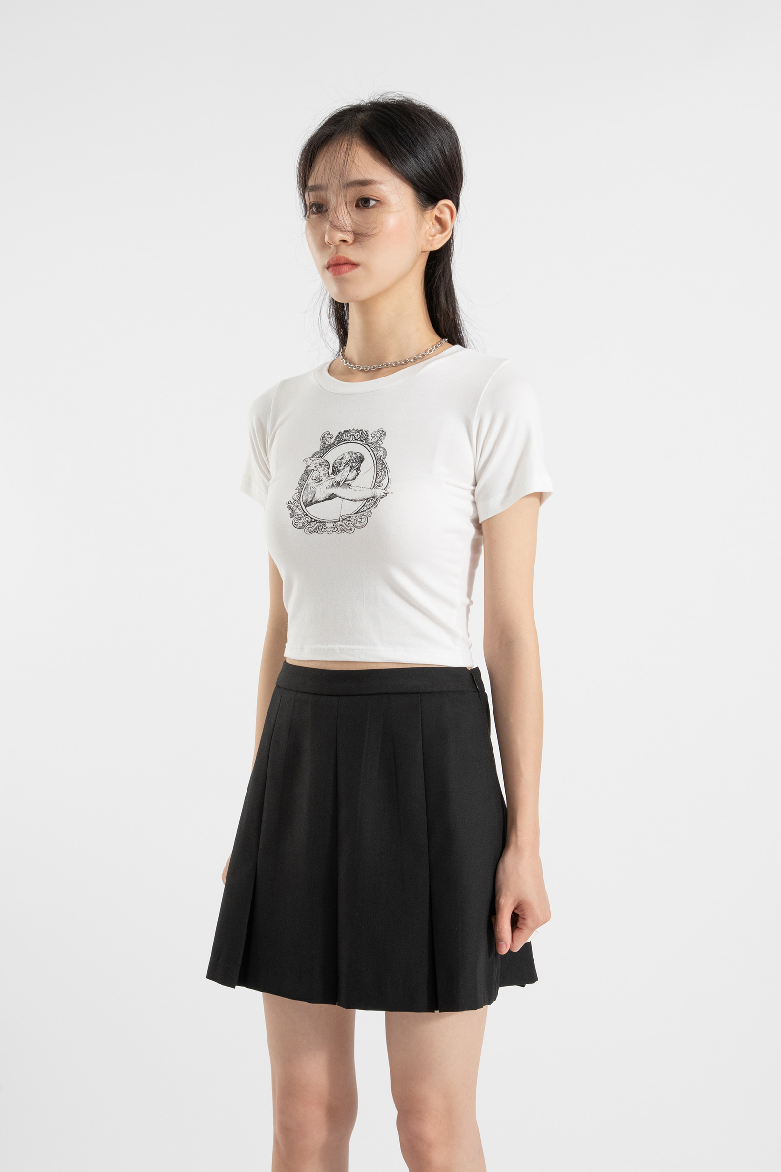 Cupid printed cropped round neck T-shirt