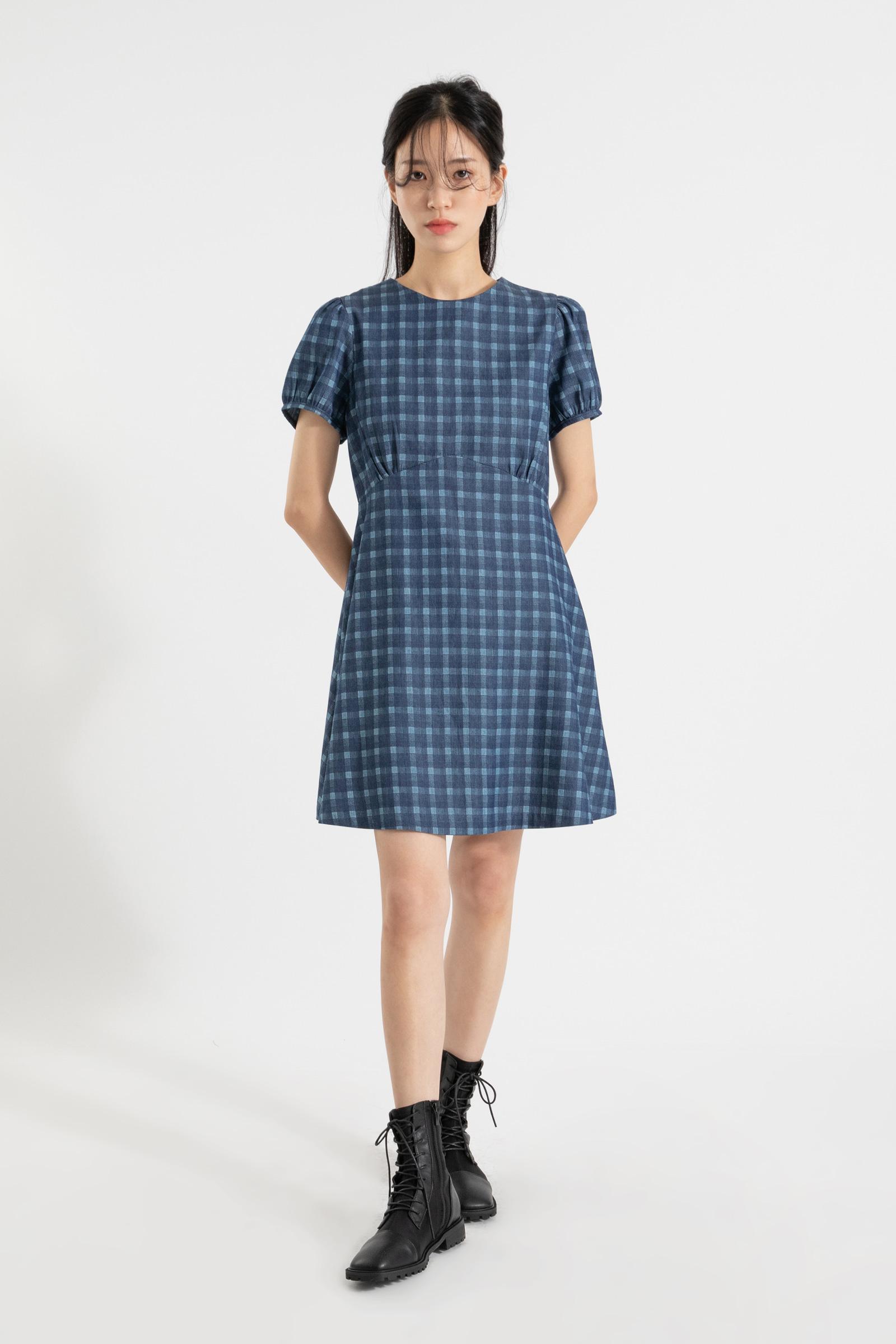 Checked denim puff mini dress