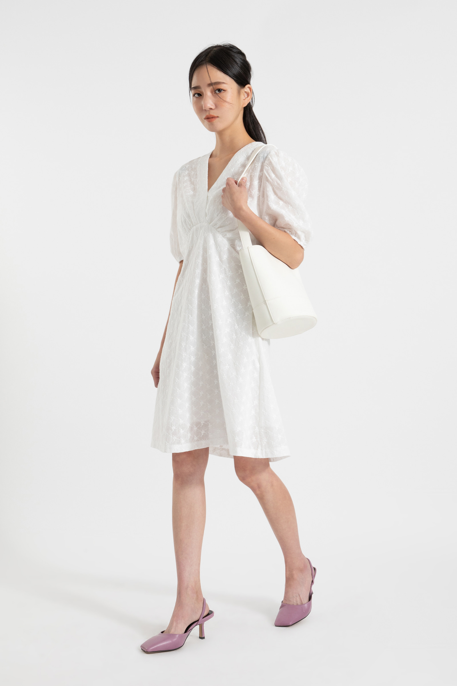 Trimmed punched puff midi dress