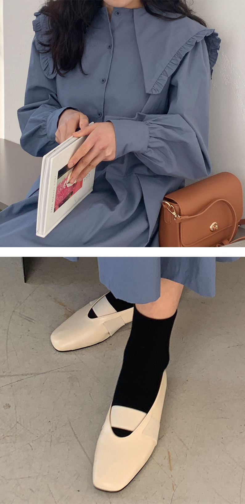 Rod banding flat shoes_C (size : 225,230,235,240,245,250)