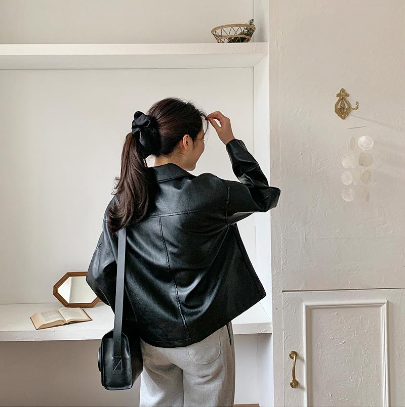 Urban leather collar jacket_H