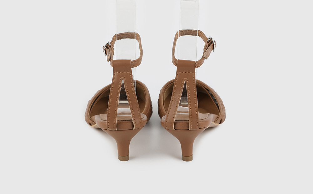 Real leather hoshi strap middle heel sandals