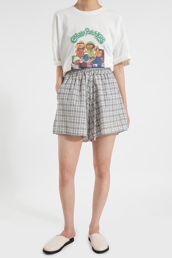 Cover check banding shorts