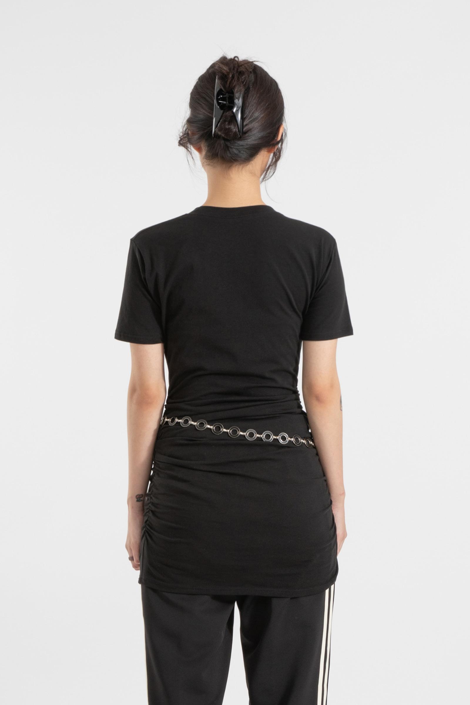 Twin shirring round neck mini dress