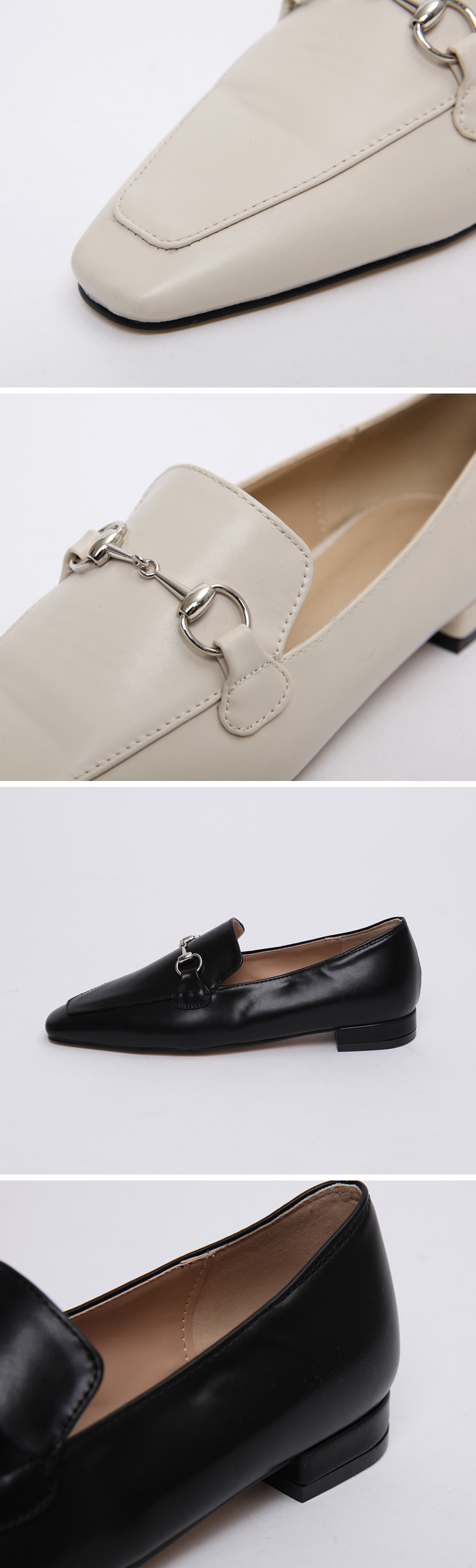 Silver buckle flat loafer_P