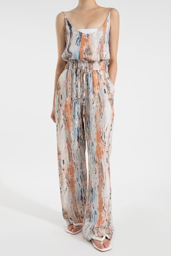 Summer drawing pattern high-rise long pants