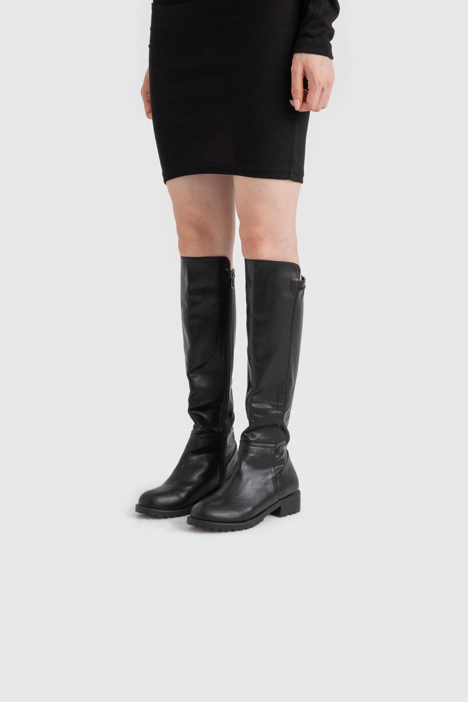 Unbalanced high long boots
