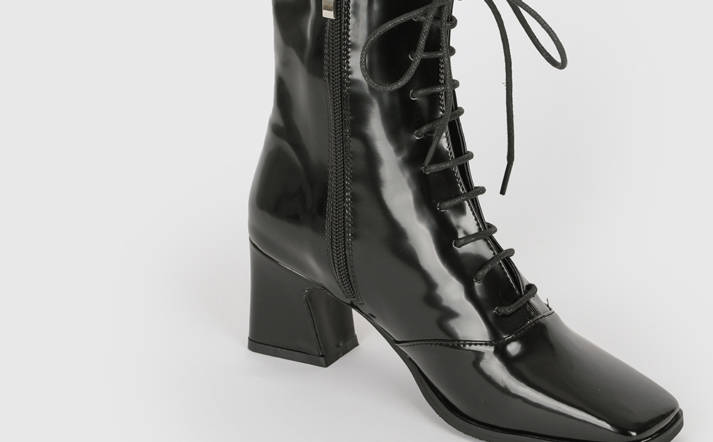 Shine lace-up middle heel ankle boots