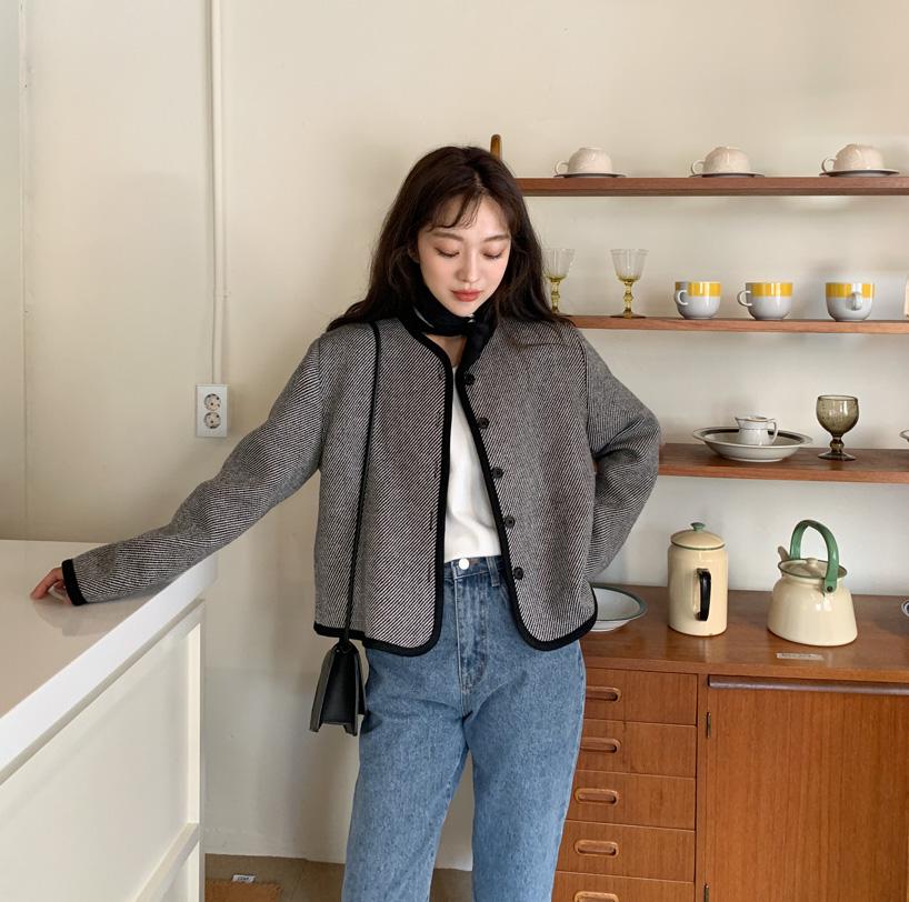 Foaming line wool jacket_C (size : free)