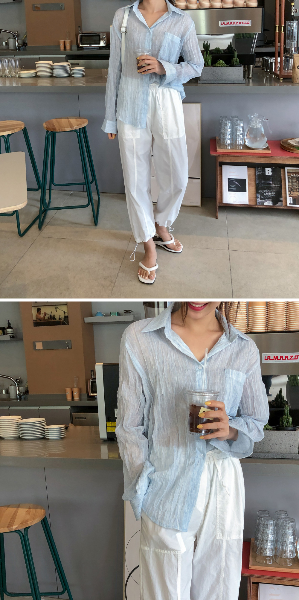 Loose-fit wrinkled sheer shirt