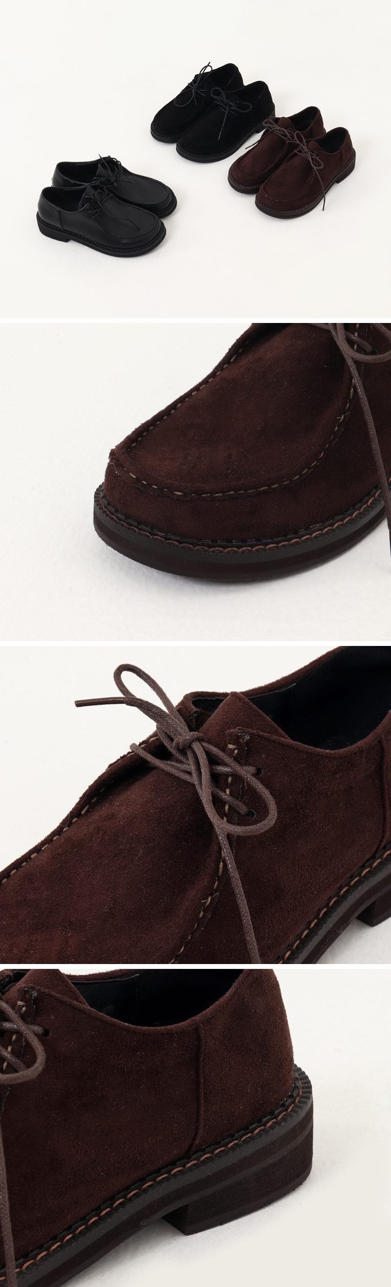 Stitched suede flat loafers