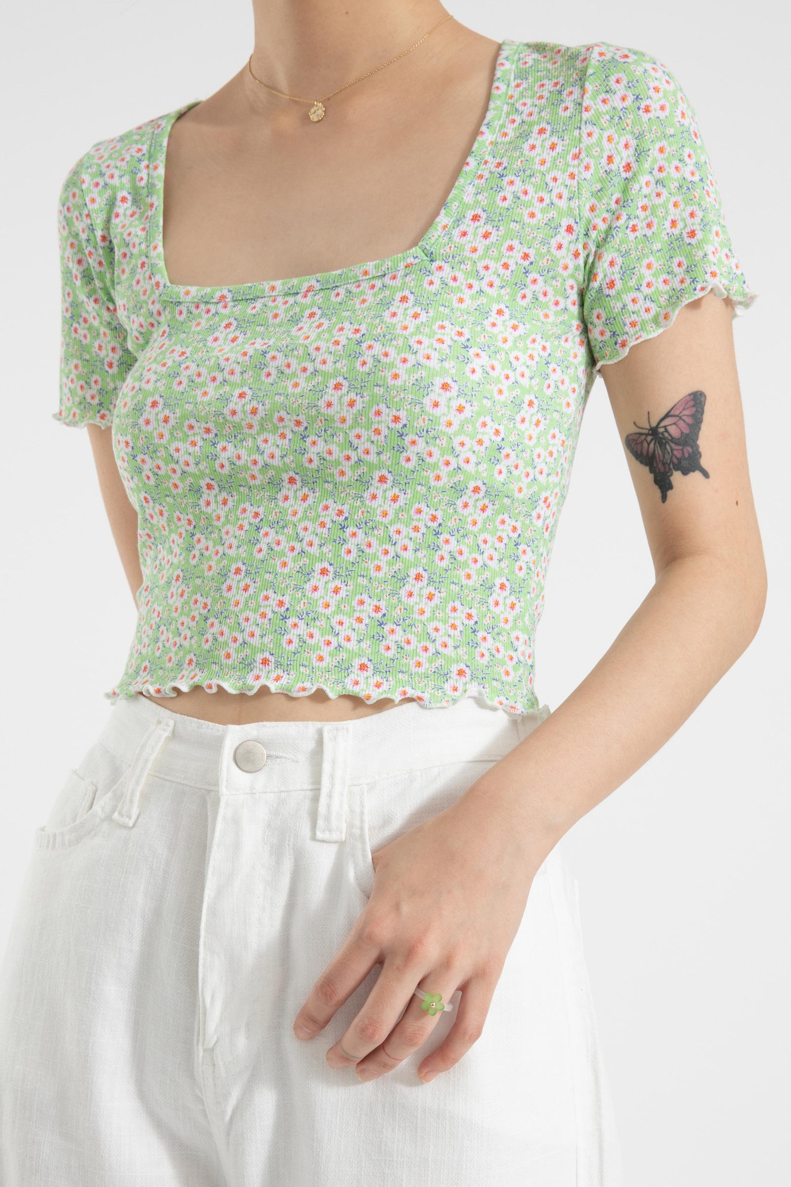Barbie wave floral square neck t-shirt