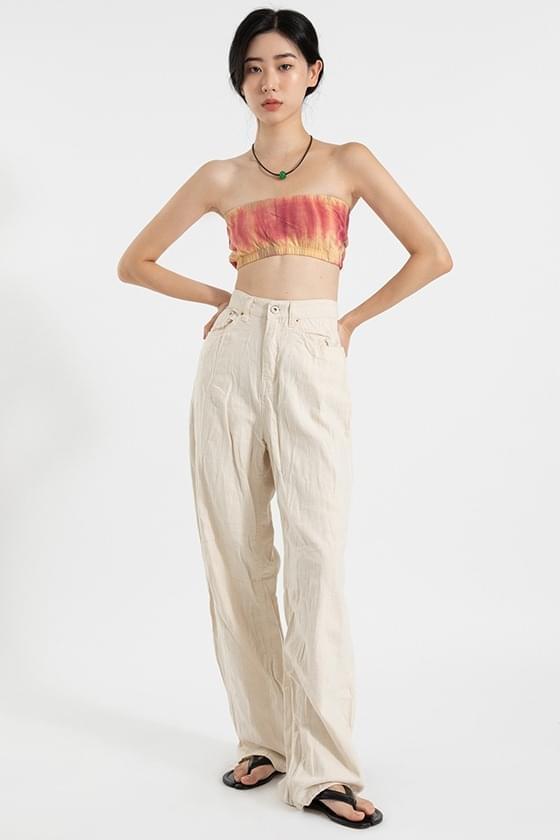 Edge-wrinkle high-rise trousers