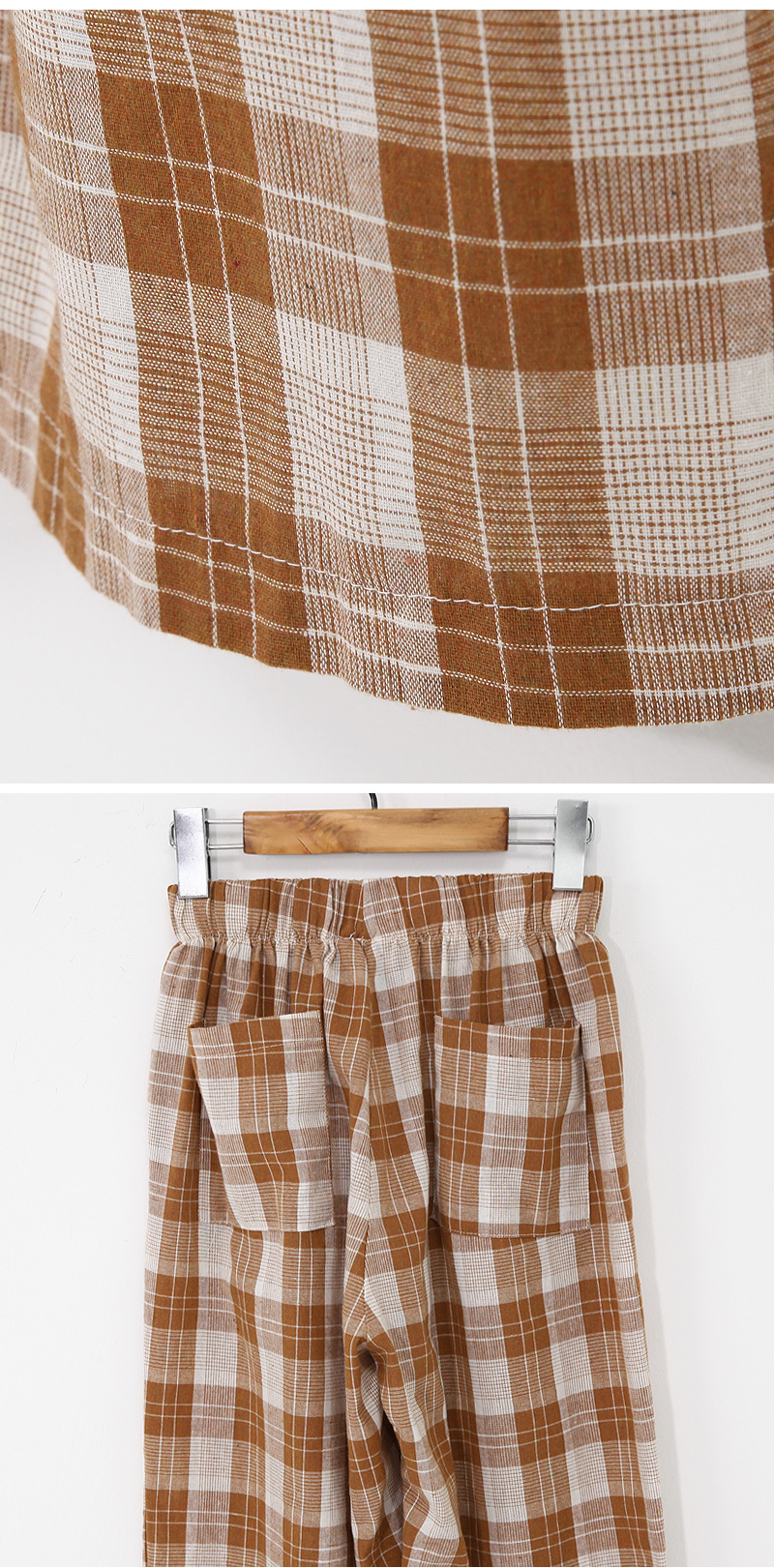 Modern check banding pants