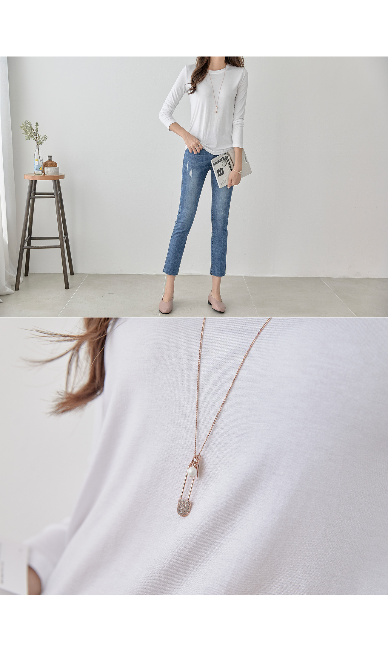 Cubic Clothespin Long Necklace #85363