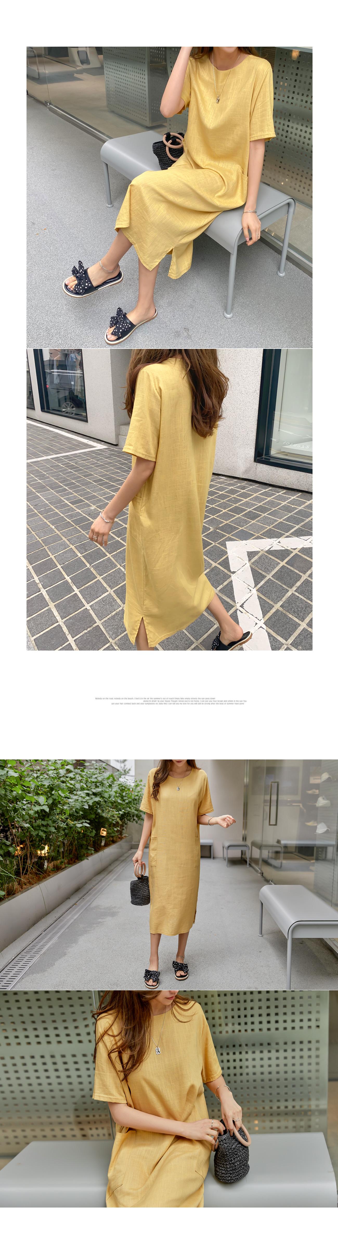 Linen Pocket Long Dress #37532