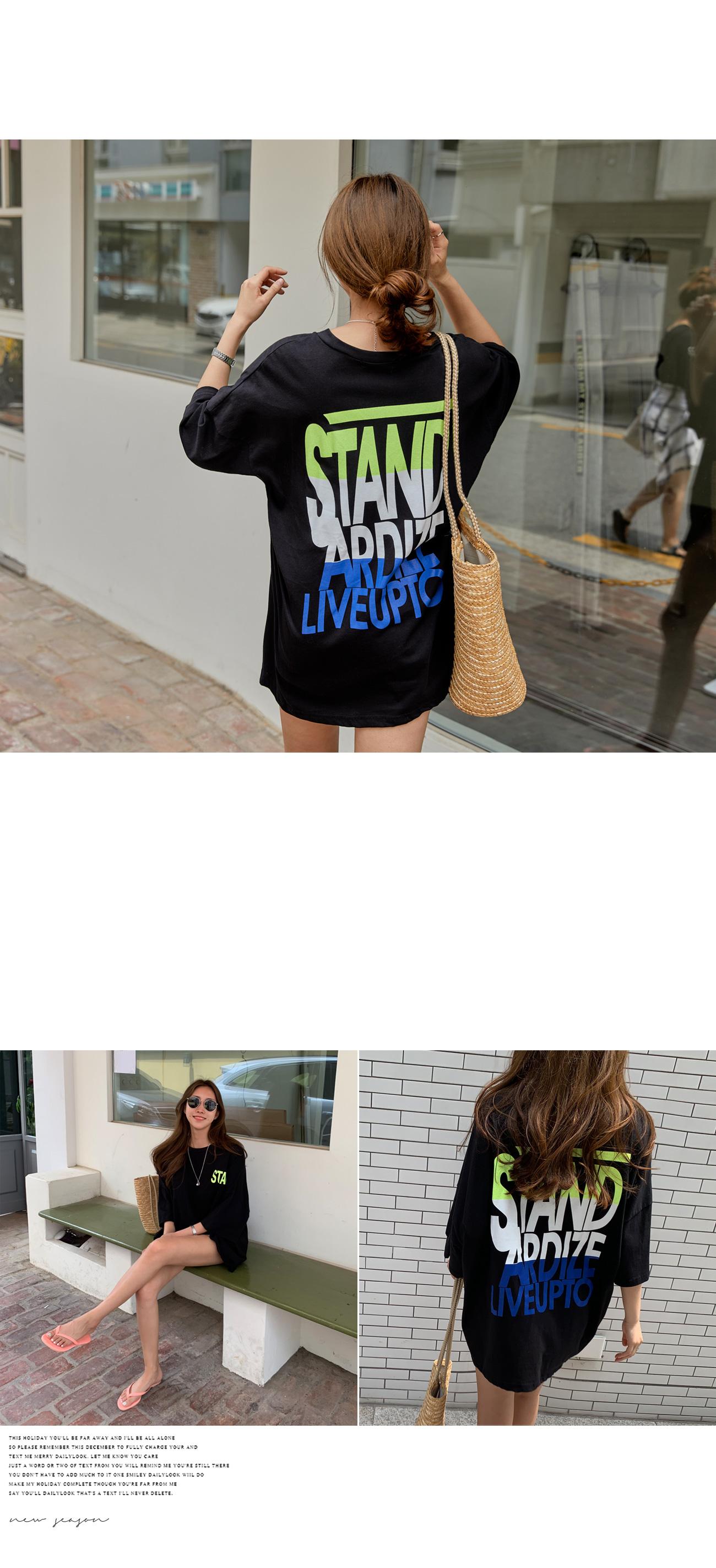 Stand Printing Long T-shirt #108269