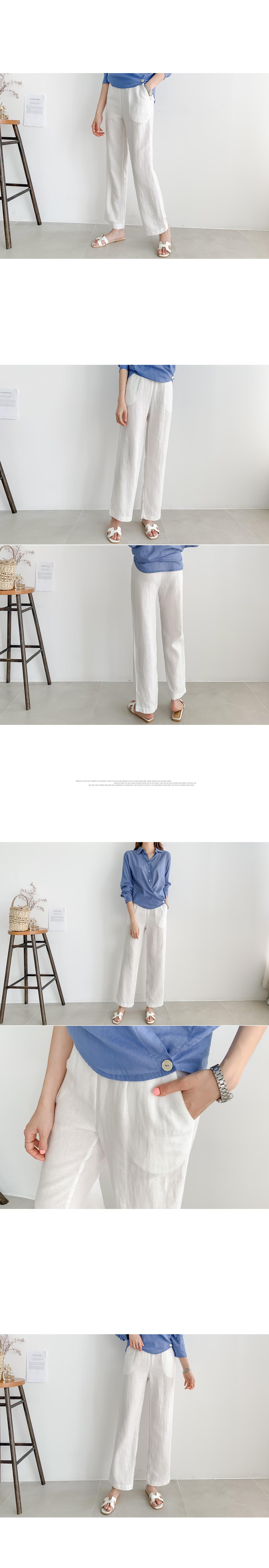 Straight Fit Back Banding Linen Pants #75372