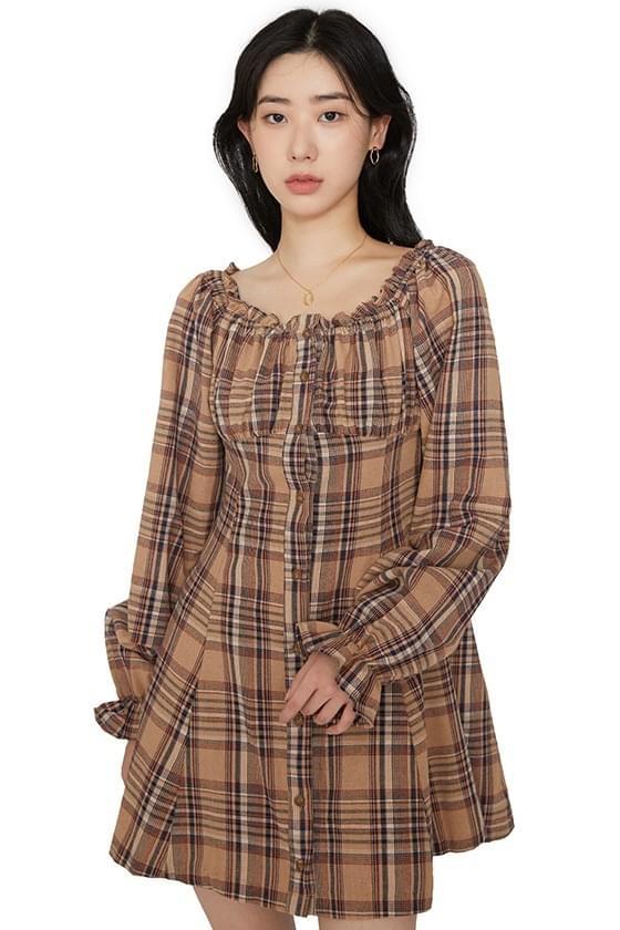 Autumn check ruched mini dress