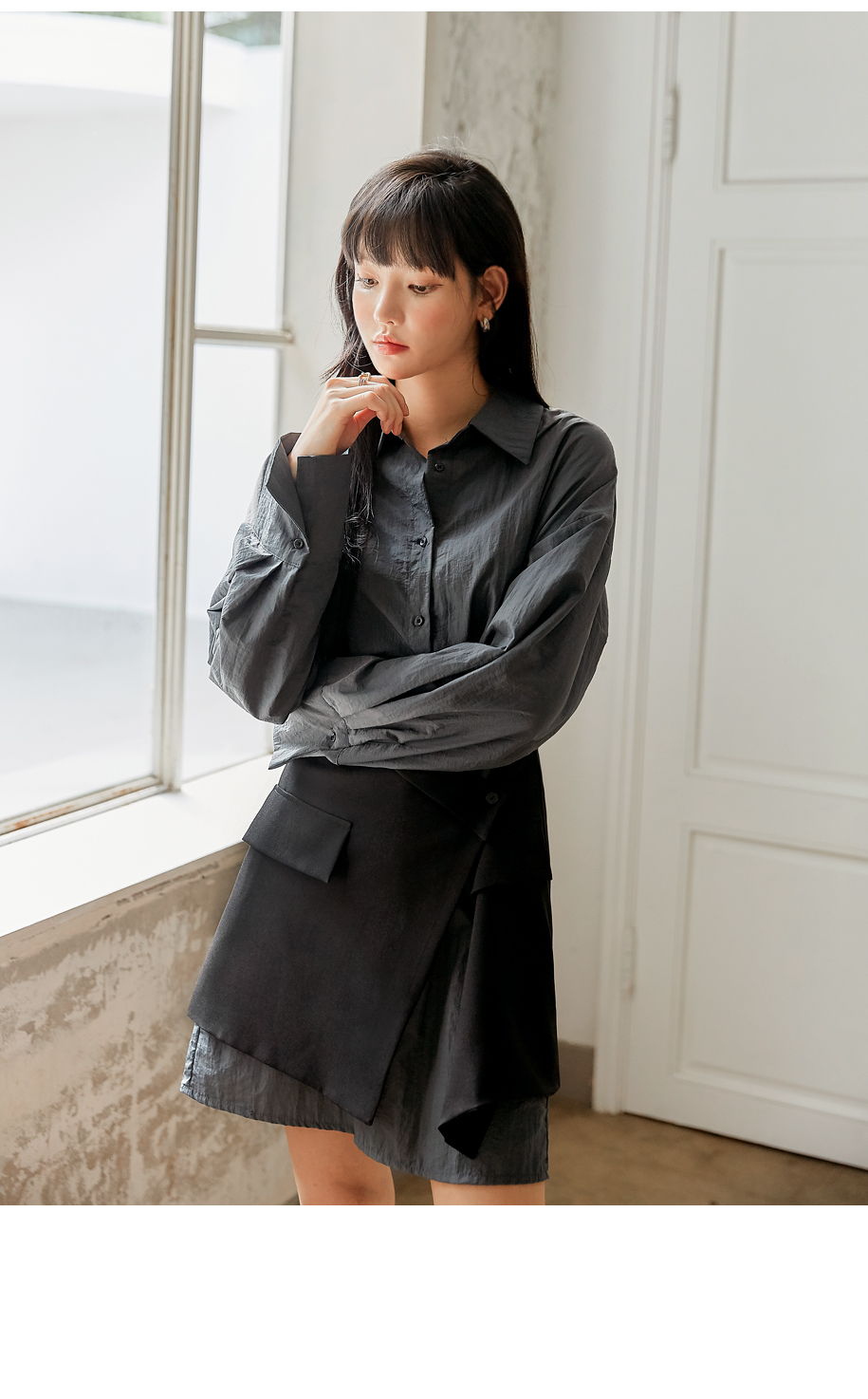 配色層次襬設計款襯衫洋裝
