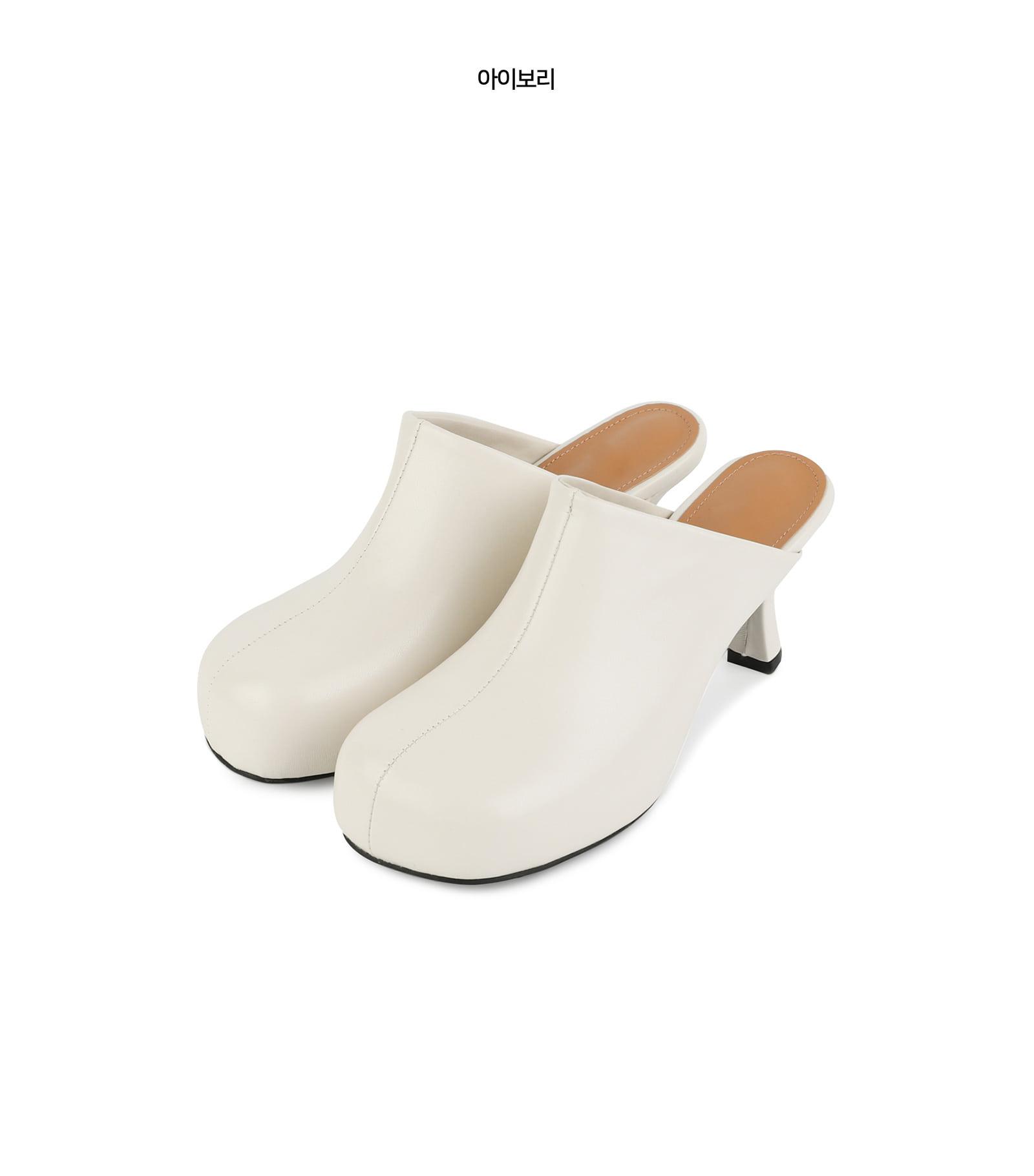 Again round high heel mules