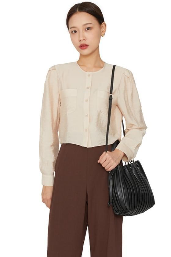 Scarlet puff shoulder cropped blouse