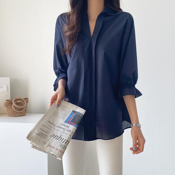 V Frill Sleeve Blouse #47691