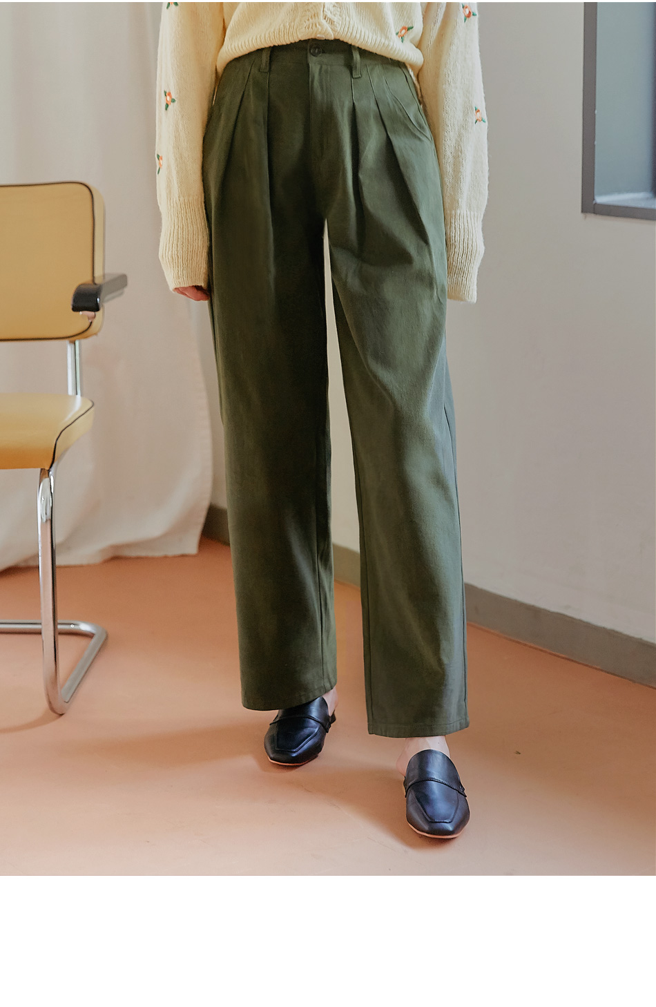 KANEL PINTUCK WIDE COTTON PANTS