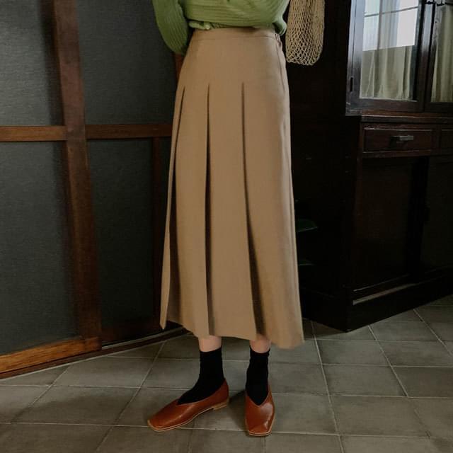 High Waist Back Banding Pleated Long Skirt