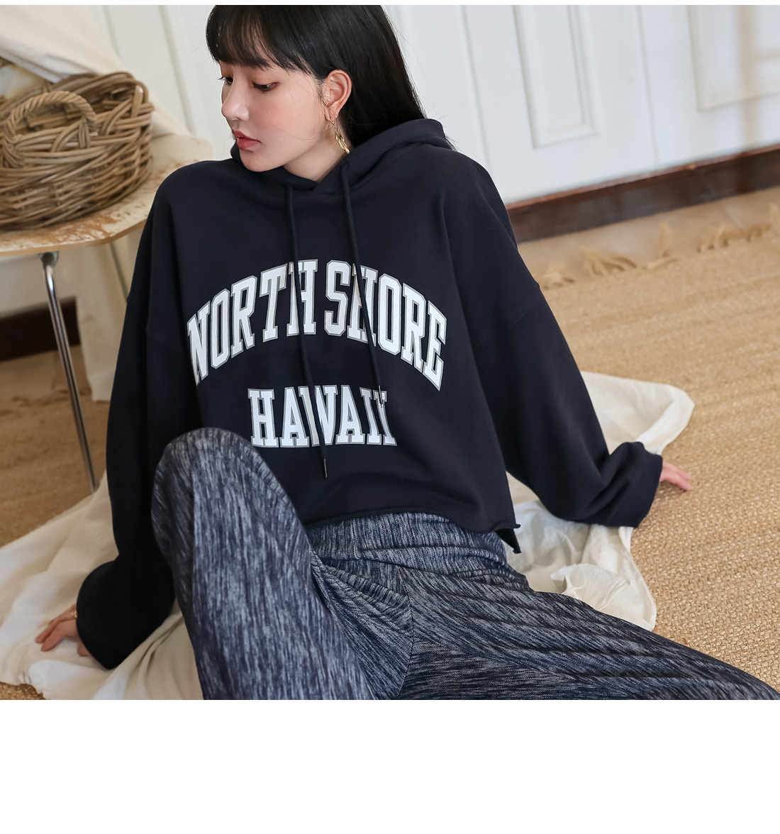 HAWAII LETTERING CROP HOOD T