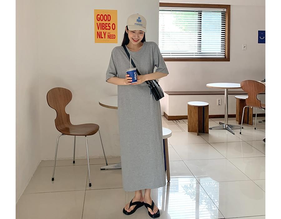 Plain Basic Cotton Long Dress