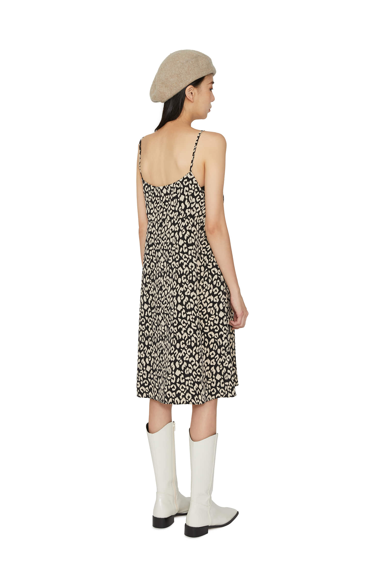 Kai leopard-string midi dress