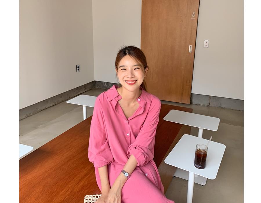 Cherry tencel long shirts_J
