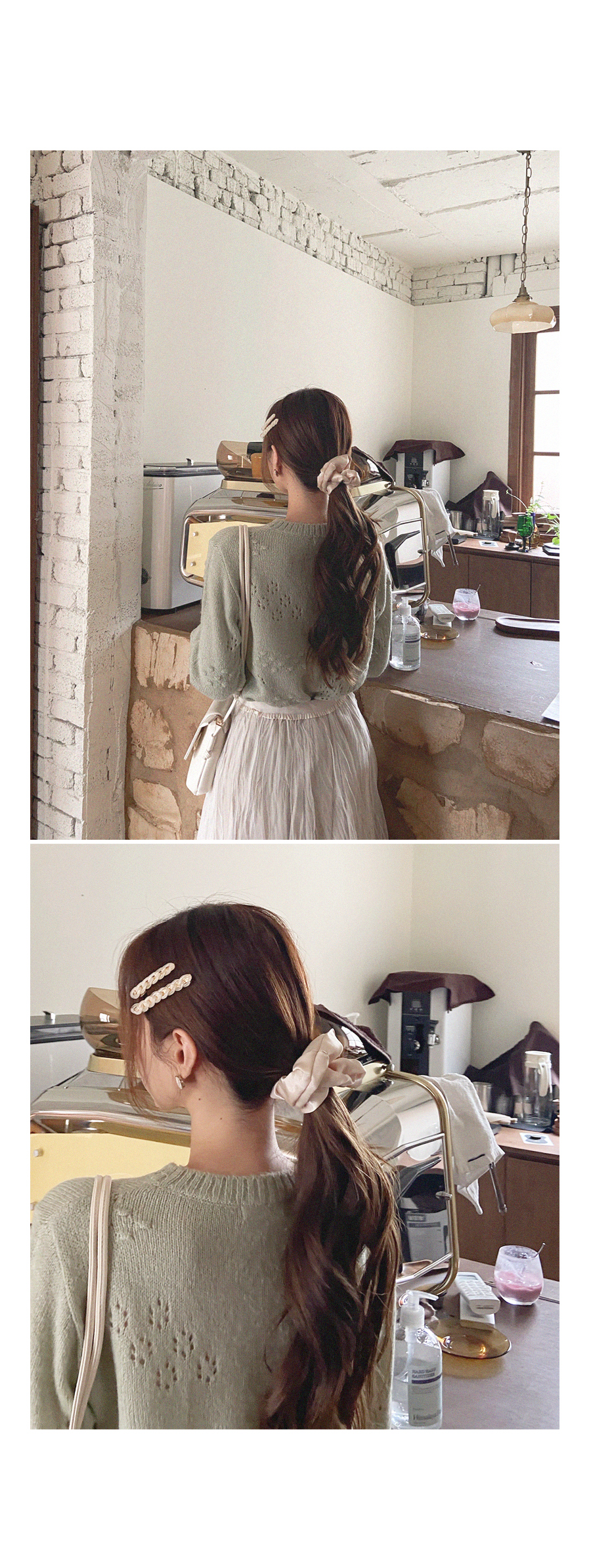 Silver silver satin hair organ band