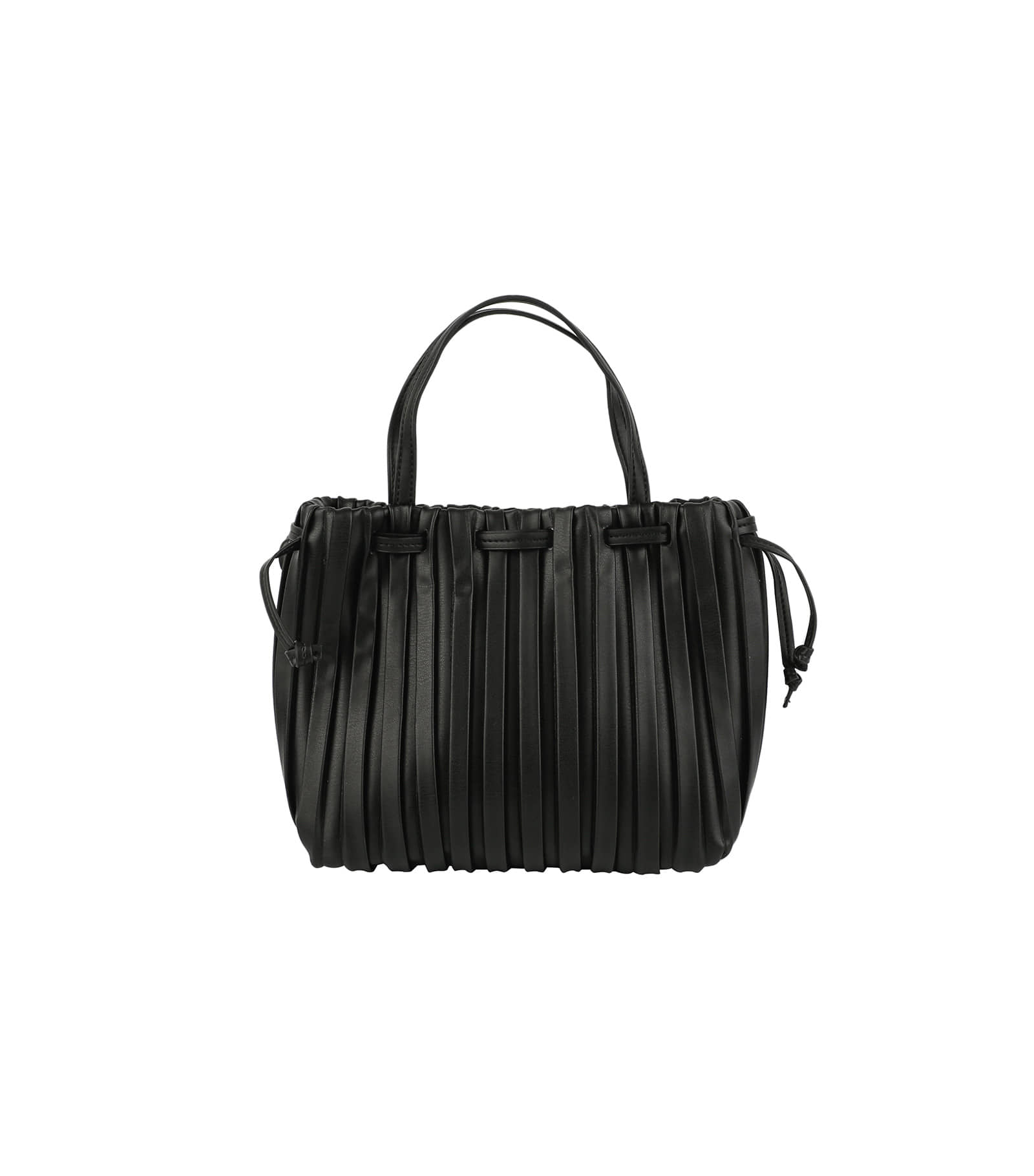 Pleated two-way tote bag