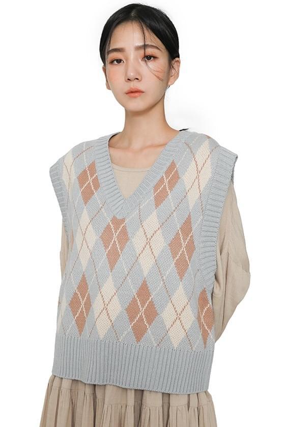 Argyle pattern pastel knit vest (Delayed delivery)