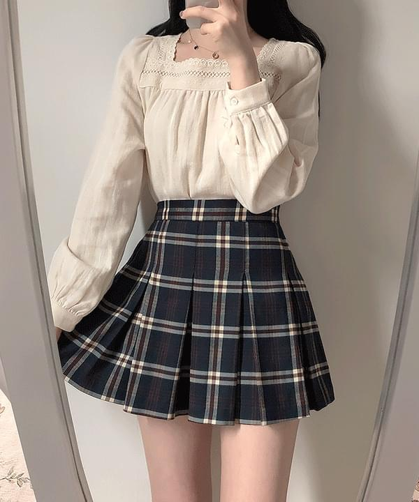 Autumn wind check mini skirt 2color